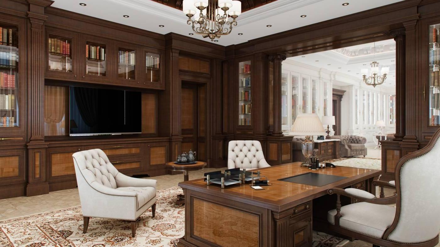Классический интерьер с деревянным декором