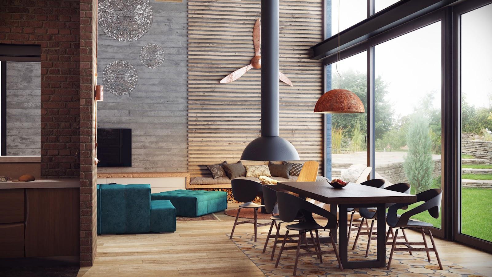 Лофт с деревянным декором