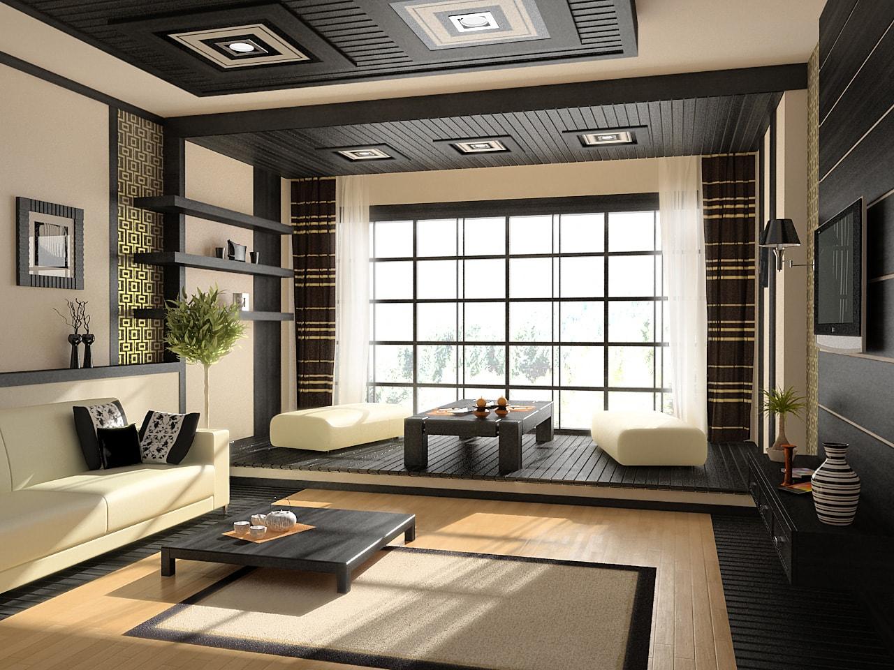 Небольшая по высоте мебель подойдет для помещений с низкими потолками